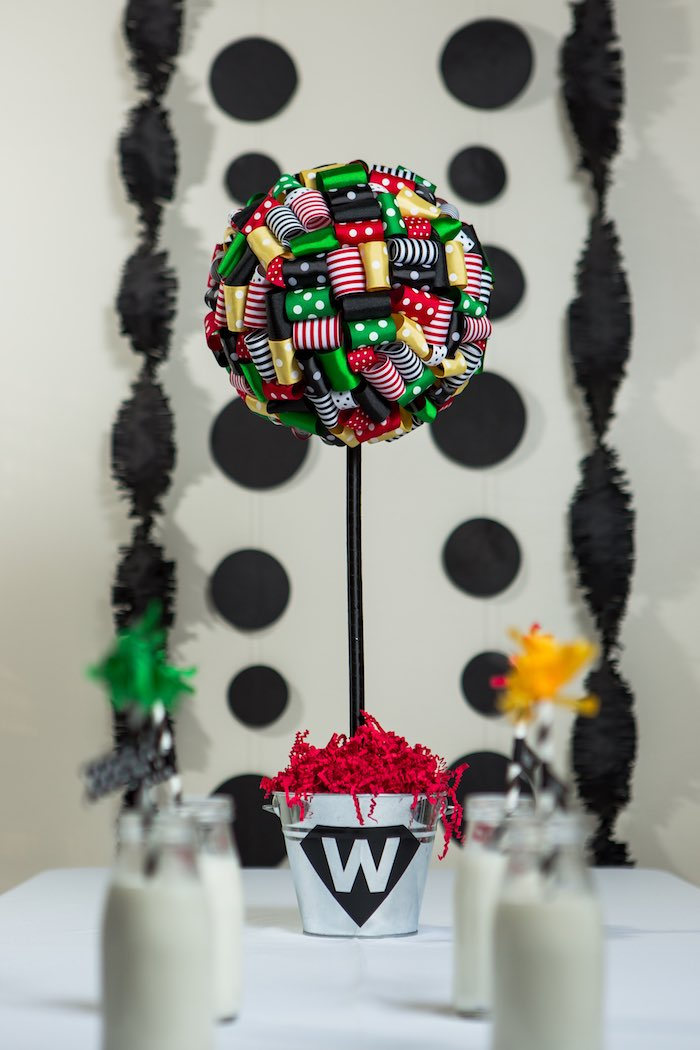 Ribbon Pomander Ball Centerpiece from a Modern Justice League Birthday Party via Kara's Party Ideas KarasPartyIdeas.com (22)