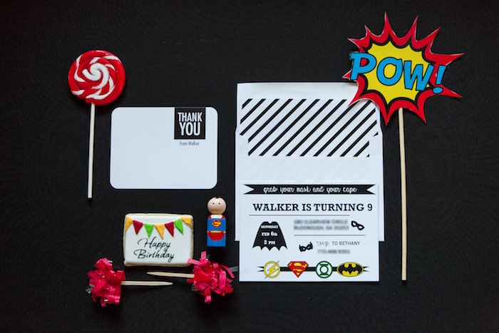 Invitation + Stationery from a Modern Justice League Birthday Party via Kara's Party Ideas KarasPartyIdeas.com (16)