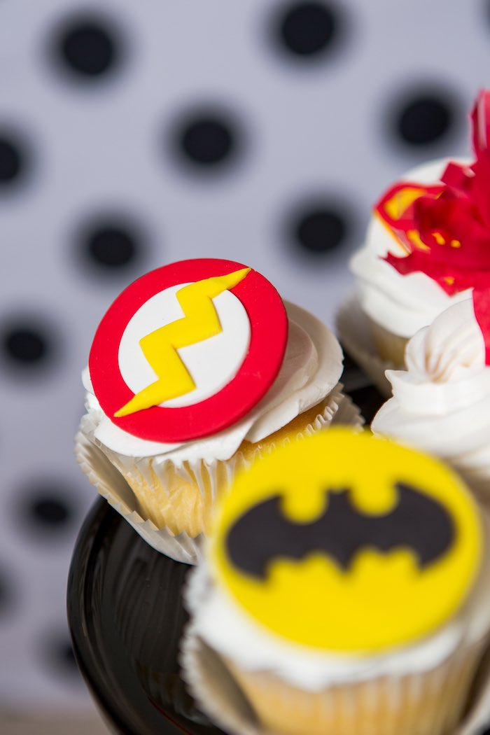 The Flash-inspired Cupcake from a Modern Justice League Birthday Party via Kara's Party Ideas KarasPartyIdeas.com (14)