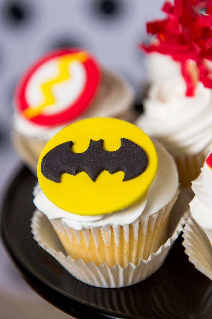 Batman Cupcake from a Modern Justice League Birthday Party via Kara's Party Ideas KarasPartyIdeas.com (13)