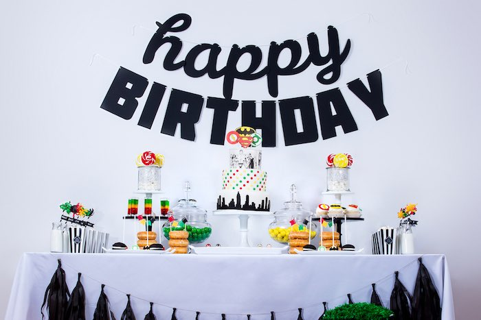 Sweet Table from a Modern Justice League Birthday Party via Kara's Party Ideas KarasPartyIdeas.com (49)