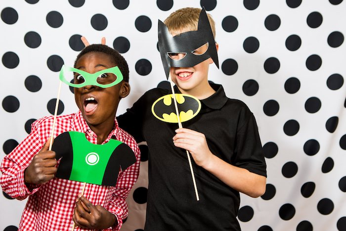 Superhero Photo Op from a Modern Justice League Birthday Party via Kara's Party Ideas KarasPartyIdeas.com (6)