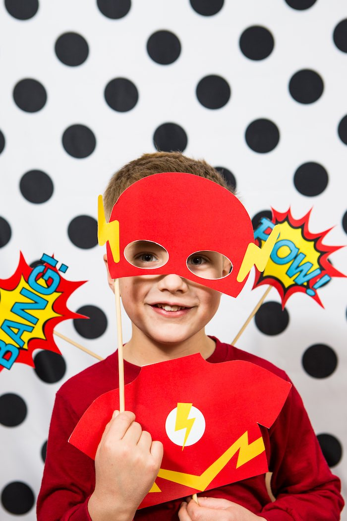 Superhero Photo Op from a Modern Justice League Birthday Party via Kara's Party Ideas KarasPartyIdeas.com (4)