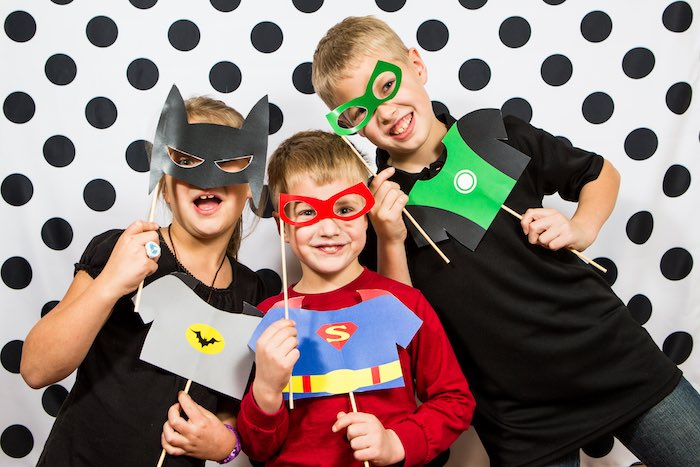 Superheroes Posing at a Modern Justice League Birthday Party via Kara's Party Ideas KarasPartyIdeas.com (3)