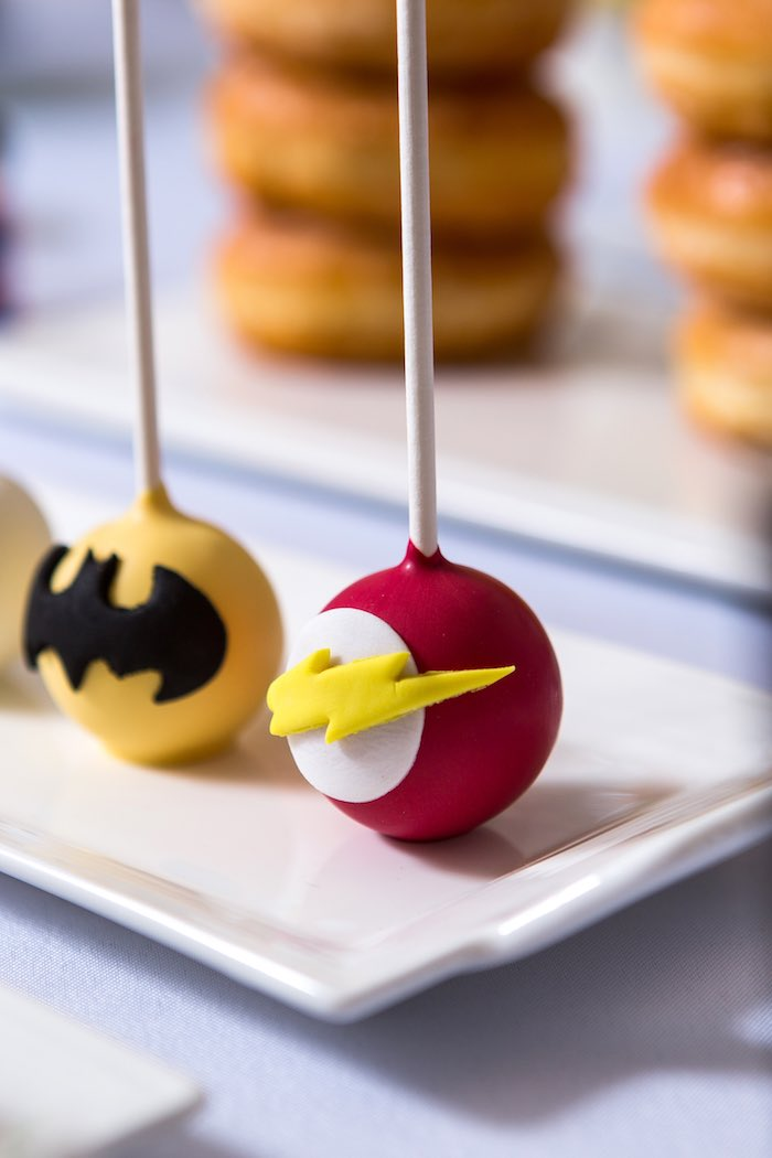 Cake Pops from a Modern Justice League Birthday Party via Kara's Party Ideas KarasPartyIdeas.com (44)