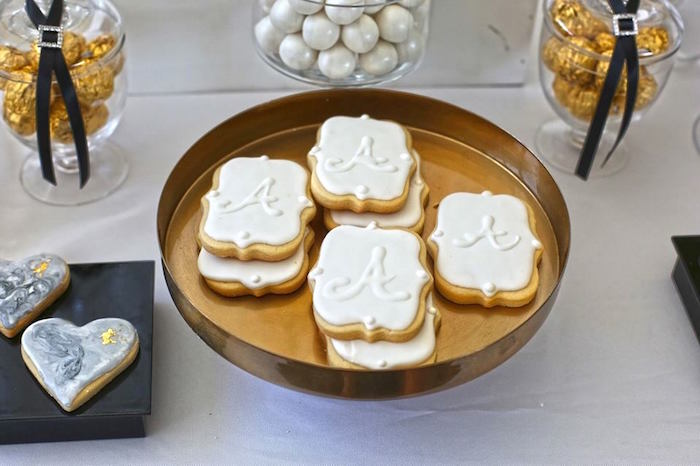Cookies from a Modern Marble Baby Shower via Kara's Party Ideas KarasPartyIdeas.com (9)