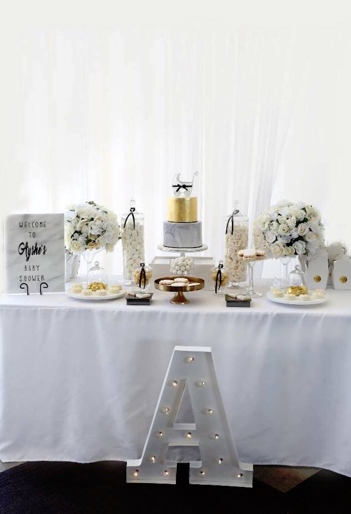 Head Table from a Modern Marble Baby Shower via Kara's Party Ideas KarasPartyIdeas.com (8)