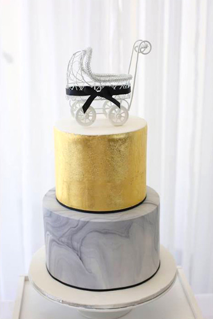 Cake from a Modern Marble Baby Shower via Kara's Party Ideas | KARASPARTYIDEAS.COM
