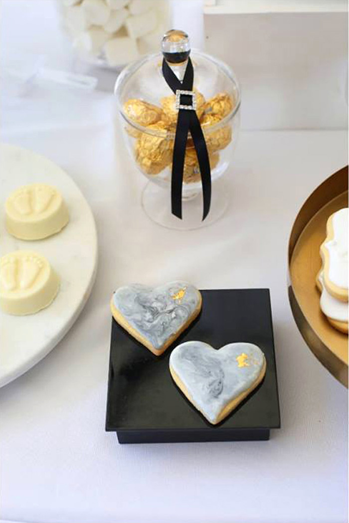 Marbleized Heart Cookies from a Modern Marble Baby Shower via Kara's Party Ideas | KARASPARTYIDEAS.COM