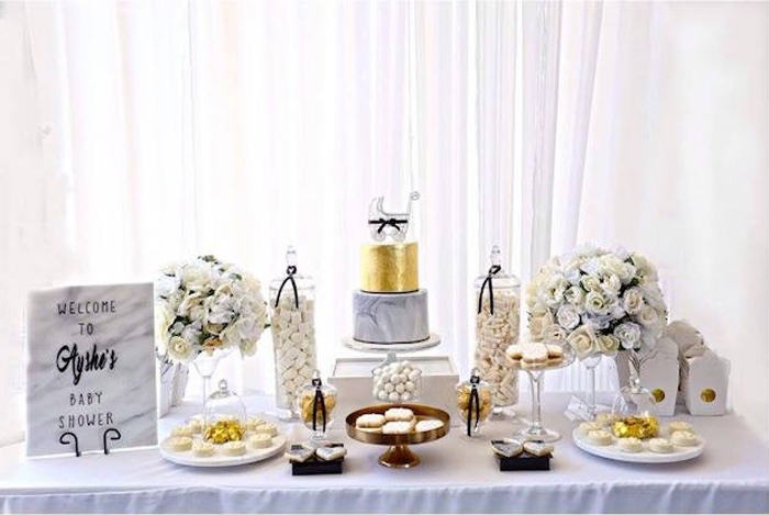 Dessert Table from a Modern Marble Baby Shower via Kara's Party Ideas | KARASPARTYIDEAS.COM