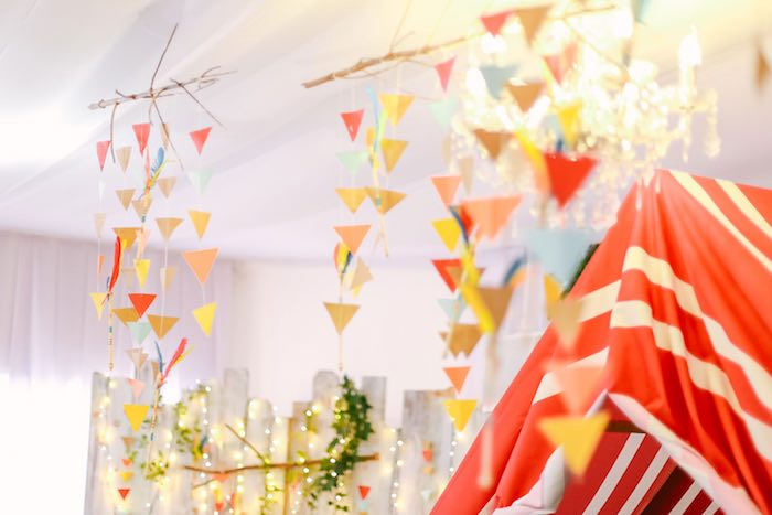 Hanging Decorations + Tribal Chandeliers from a Moonrise Kingdom Camping Birthday Party via Kara's Party Ideas | KarasPartyIdeas.com (46)