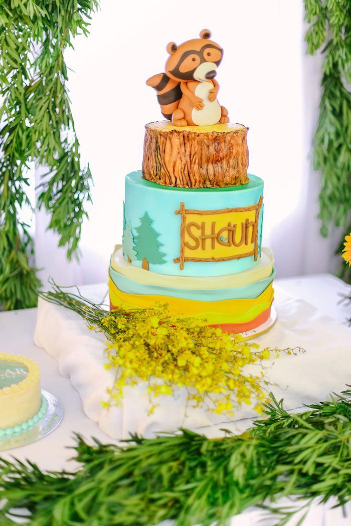 Cake from a Moonrise Kingdom Camping Birthday Party via Kara's Party Ideas | KarasPartyIdeas.com (45)