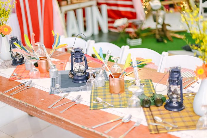 Guest Tablescape from a Moonrise Kingdom Camping Birthday Party via Kara's Party Ideas | KarasPartyIdeas.com (43)