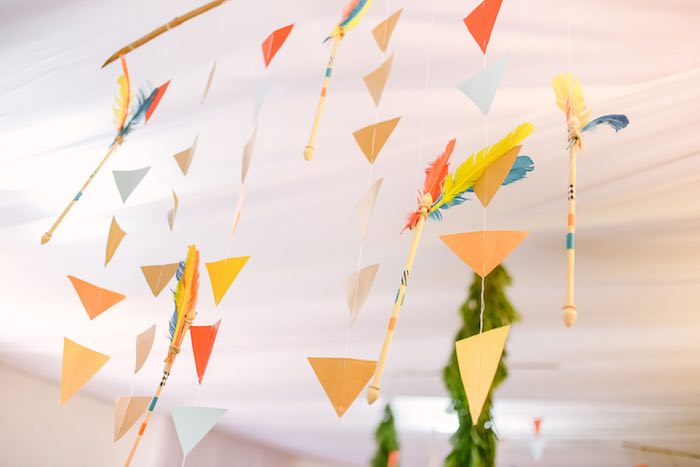 Hanging Decoration + Bunting from a Moonrise Kingdom Camping Birthday Party via Kara's Party Ideas | KarasPartyIdeas.com (36)