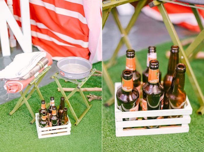 Camping Decor + Drinks from a Moonrise Kingdom Camping Birthday Party via Kara's Party Ideas | KarasPartyIdeas.com (35)