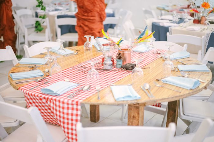Guest Table from a Moonrise Kingdom Camping Birthday Party via Kara's Party Ideas | KarasPartyIdeas.com (34)