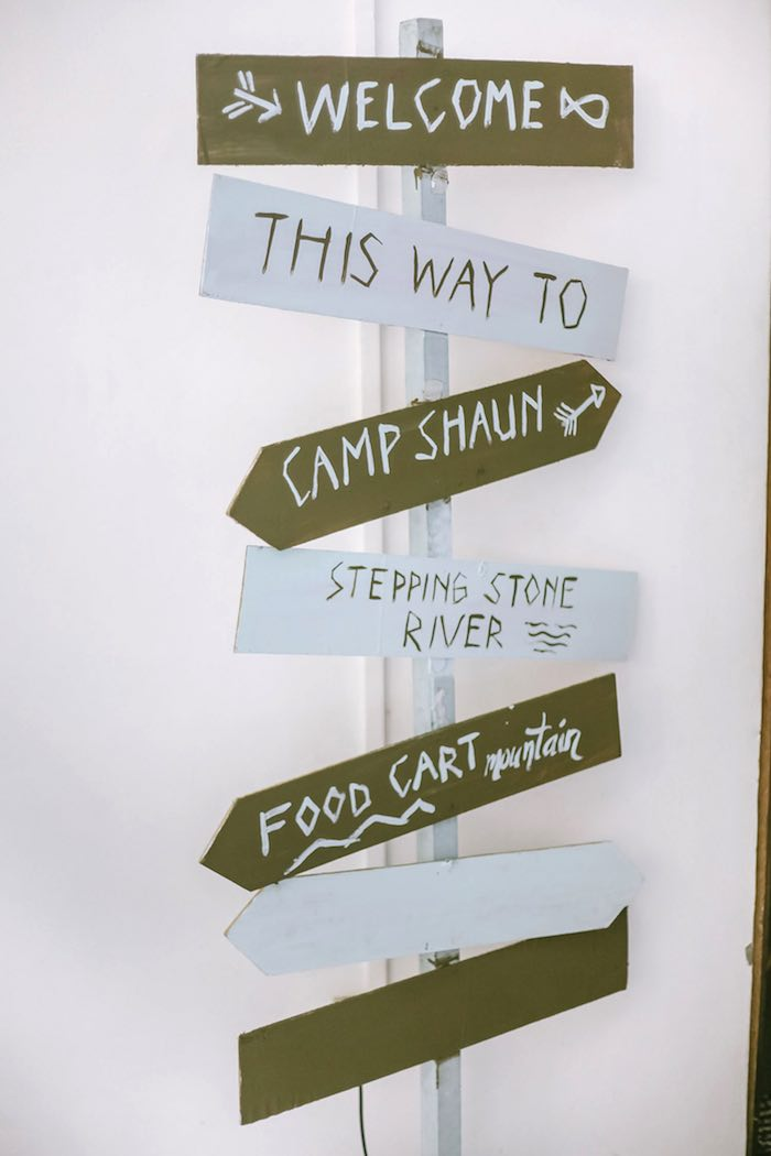 Directional Sign from a Moonrise Kingdom Camping Birthday Party via Kara's Party Ideas | KarasPartyIdeas.com (31)