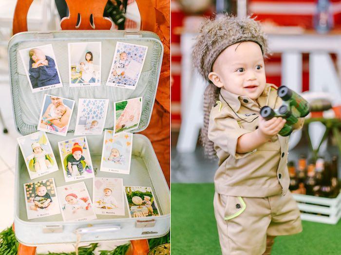 Suitcase Photo Collage + Birthday Boy from a Moonrise Kingdom Camping Birthday Party via Kara's Party Ideas | KarasPartyIdeas.com (29)