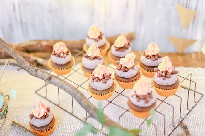 Campfire Cupcakes from a Moonrise Kingdom Camping Birthday Party via Kara's Party Ideas | KarasPartyIdeas.com (28)