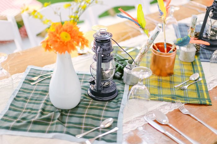 Guest Tablescape from a Moonrise Kingdom Camping Birthday Party via Kara's Party Ideas | KarasPartyIdeas.com (24)