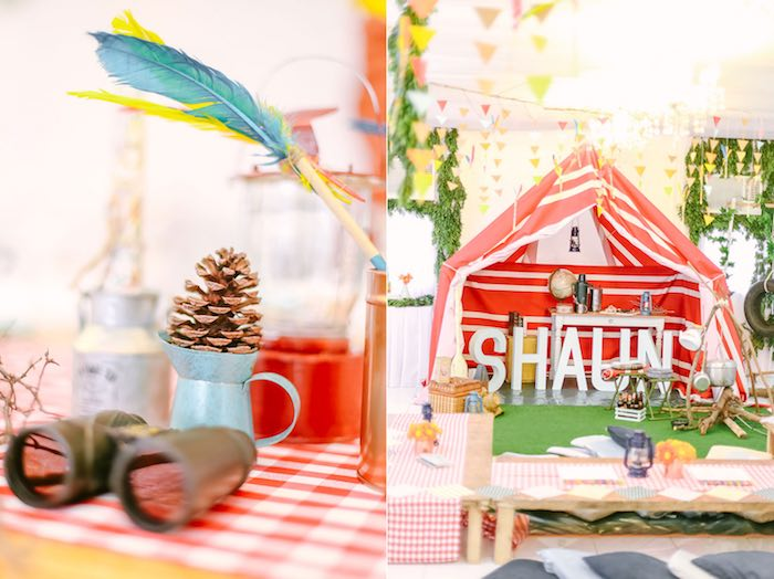 Camping Tent + Centerpieces from a Moonrise Kingdom Camping Birthday Party via Kara's Party Ideas | KarasPartyIdeas.com (23)