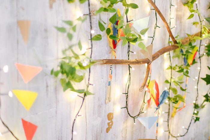 Backdrop Bunting & Detail from a Moonrise Kingdom Camping Birthday Party via Kara's Party Ideas | KarasPartyIdeas.com (14)