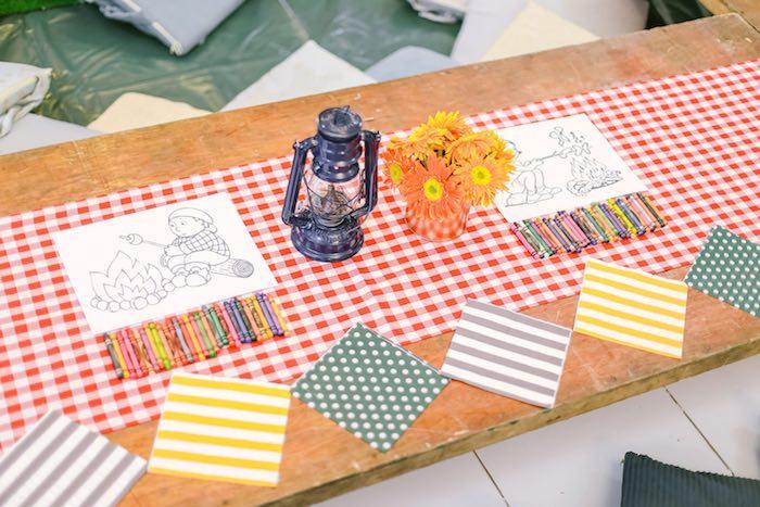 Kids Activity Table from a Moonrise Kingdom Camping Birthday Party via Kara's Party Ideas | KarasPartyIdeas.com (7)
