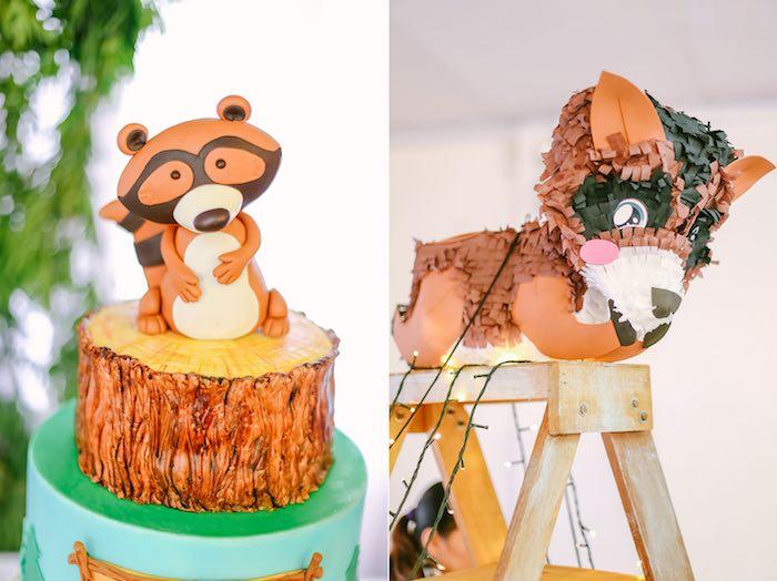 Cake + Piñata from a Moonrise Kingdom Camping Birthday Party via Kara's Party Ideas | KarasPartyIdeas.com (6)