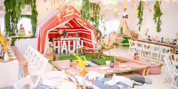 Partyscape from a Moonrise Kingdom Camping Birthday Party via Kara's Party Ideas | KarasPartyIdeas.com (1)