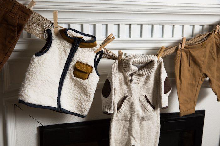 "Baby Clothing Banner from ""My Little Cinnabun"" Rustic Glam Baby Shower via Kara's Party Ideas KarasPartyIdeas.com (42)"