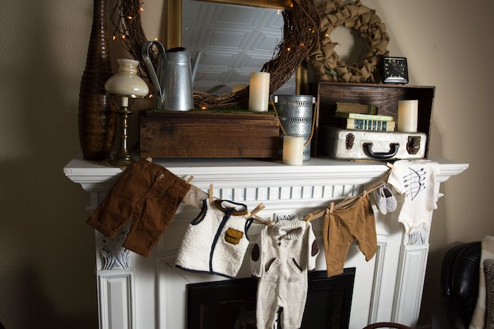 "Fireplace from a ""My Little Cinnabun"" Rustic Glam Baby Shower via Kara's Party Ideas KarasPartyIdeas.com (41)"