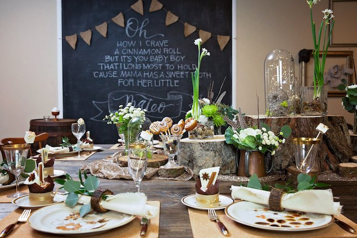 "Guest Tablescape from a ""My Little Cinnabun"" Rustic Glam Baby Shower via Kara's Party Ideas KarasPartyIdeas.com (39)"