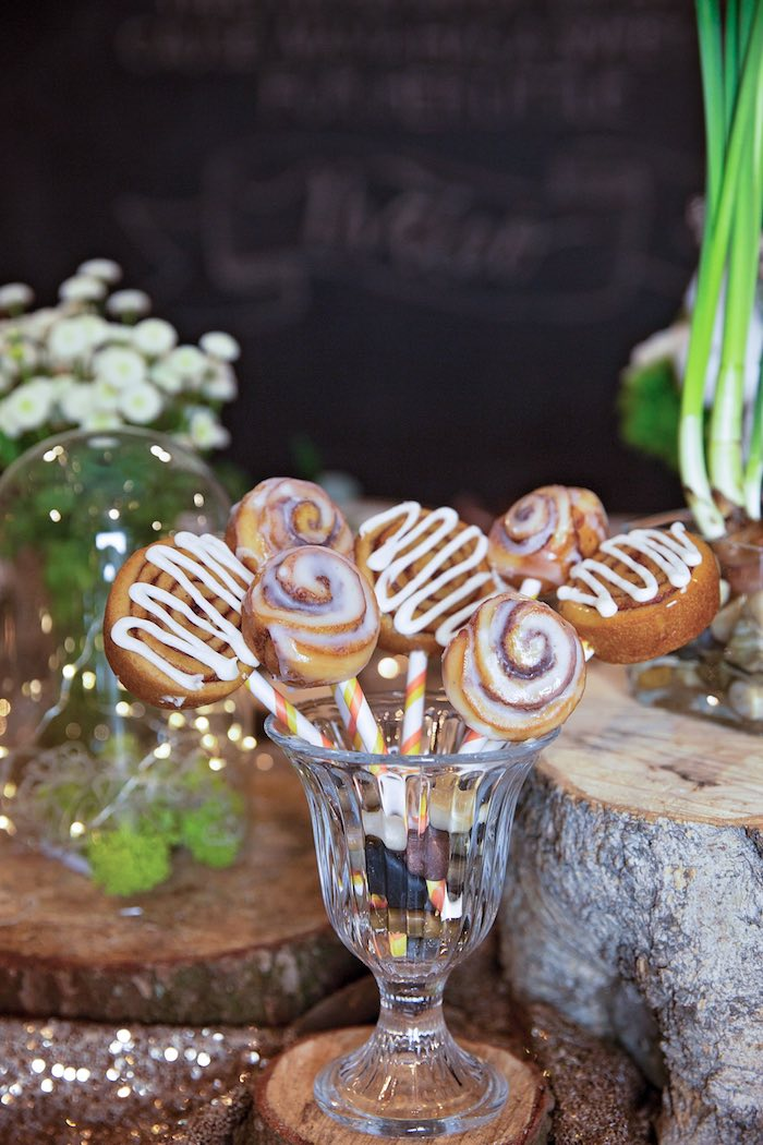 "Cinnamon Roll Pops from a ""My Little Cinnabun"" Rustic Glam Baby Shower via Kara's Party Ideas KarasPartyIdeas.com (38)"