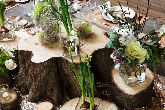 "Wood Stump + Floral Centerpieces from a ""My Little Cinnabun"" Rustic Glam Baby Shower via Kara's Party Ideas KarasPartyIdeas.com (33)"