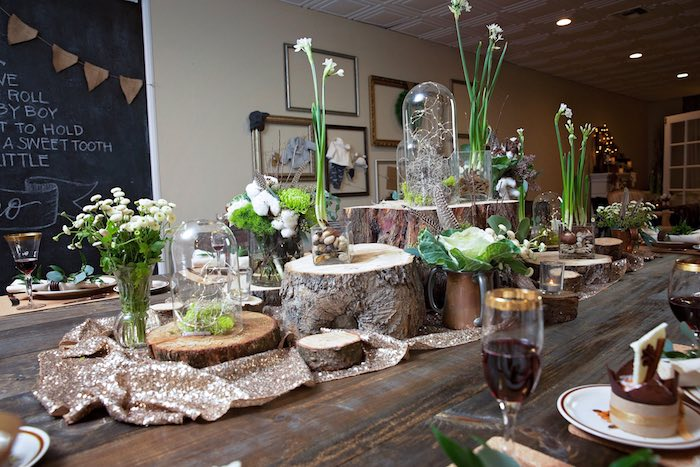 "Dining Table Decor + Tablescape from a ""My Little Cinnabun"" Rustic Glam Baby Shower via Kara's Party Ideas KarasPartyIdeas.com (32)"