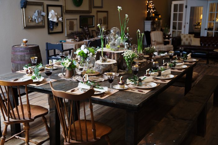 """Dining Table from a """"My Little Cinnabun"""" Rustic Glam Baby Shower via Kara's Party Ideas KarasPartyIdeas.com (28)"""