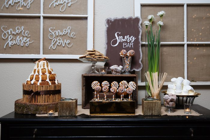 "Smores Bar from a ""My Little Cinnabun"" Rustic Glam Baby Shower via Kara's Party Ideas KarasPartyIdeas.com (24)"