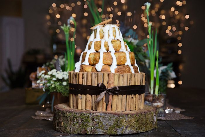 "Cinnamon Roll Cake from a ""My Little Cinnabun"" Rustic Glam Baby Shower via Kara's Party Ideas KarasPartyIdeas.com (22)"