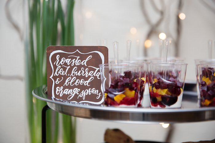 "Roasted Beet, Burrata & Blood Orange Cups from a ""My Little Cinnabun"" Rustic Glam Baby Shower via Kara's Party Ideas KarasPartyIdeas.com (21)"