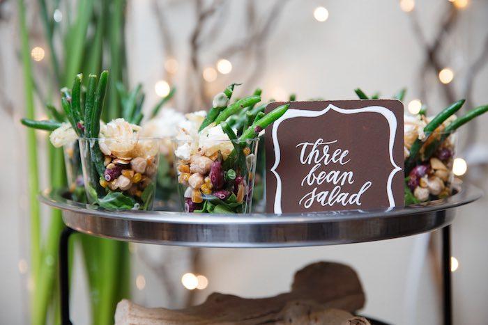 "Three Bean Salad Cups from a ""My Little Cinnabun"" Rustic Glam Baby Shower via Kara's Party Ideas KarasPartyIdeas.com (20)"