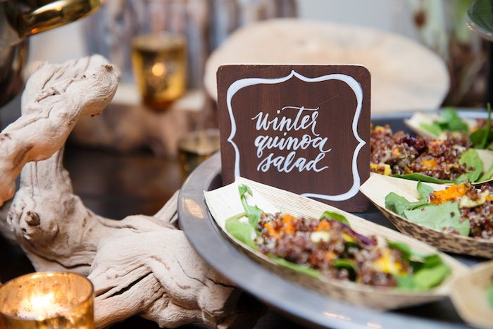 "Winter Quinoa Salad from a ""My Little Cinnabun"" Rustic Glam Baby Shower via Kara's Party Ideas KarasPartyIdeas.com (18)"