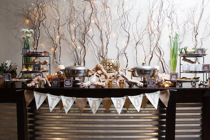 Food Table From A My Little Cinnabun Rustic Glam Baby Shower Via Karas Party