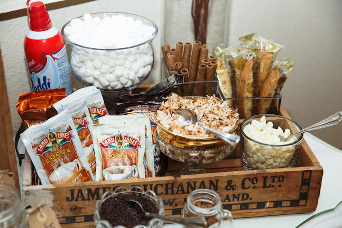 "Hot Cocoa Bar Supplies from a ""My Little Cinnabun"" Rustic Glam Baby Shower via Kara's Party Ideas KarasPartyIdeas.com (12)"