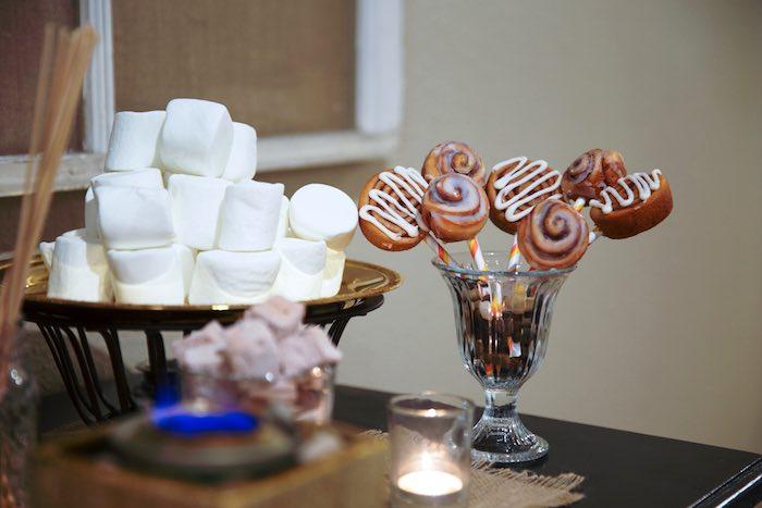 "Cinnamon Roll Pops + Marshmallows from a ""My Little Cinnabun"" Rustic Glam Baby Shower via Kara's Party Ideas KarasPartyIdeas.com (9)"