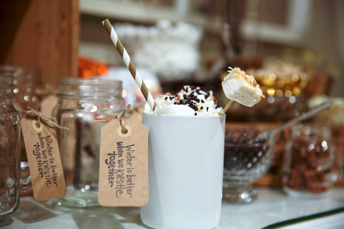 "Hot Cocoa from a ""My Little Cinnabun"" Rustic Glam Baby Shower via Kara's Party Ideas KarasPartyIdeas.com (8)"
