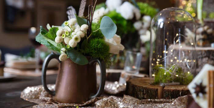 "Rustic Floral Centerpiece from a ""My Little Cinnabun"" Rustic Glam Baby Shower via Kara's Party Ideas KarasPartyIdeas.com (1)"