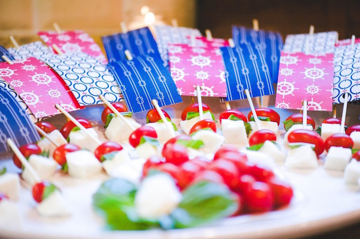 Caprese Skewers from a Nautical Baby Shower + Birthday Party via Kara's Party Ideas | The Place for All Things Party! KarasPartyIdeas.com (19)