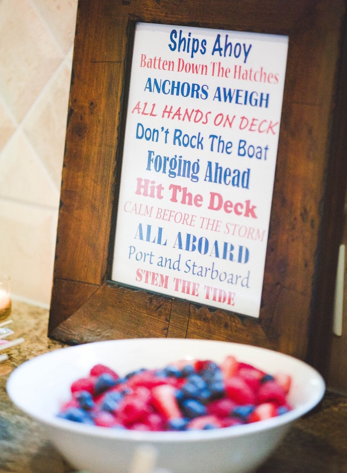 Sign from a Nautical Baby Shower + Birthday Party via Kara's Party Ideas | The Place for All Things Party! KarasPartyIdeas.com (17)
