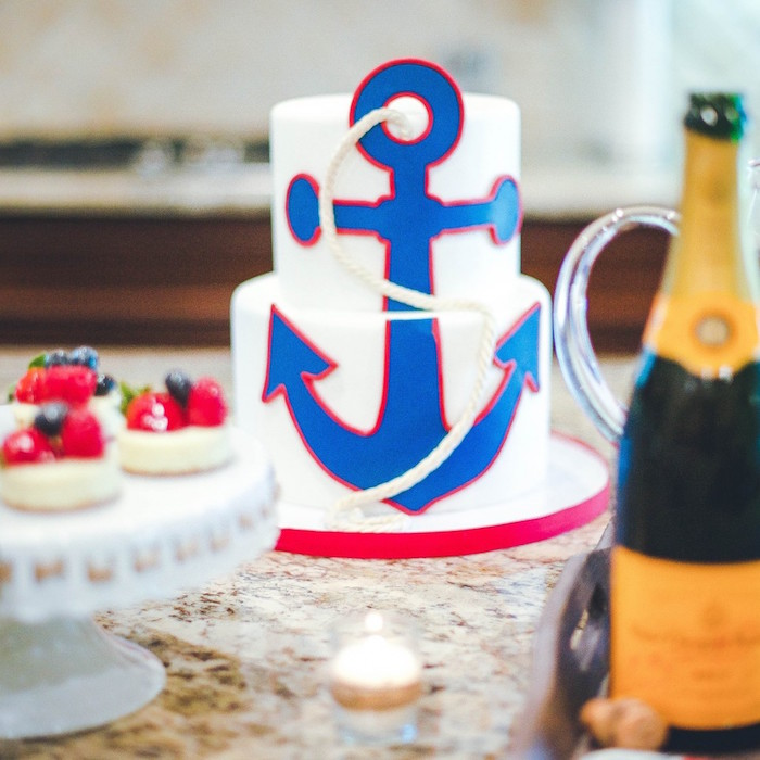 Cake from a Nautical Baby Shower + Birthday Party via Kara's Party Ideas | The Place for All Things Party! KarasPartyIdeas.com (14)