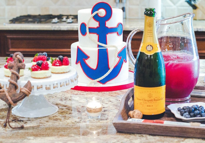 Cake + Mini Cheesecakes + Drinks from a Nautical Baby Shower + Birthday Party via Kara's Party Ideas | The Place for All Things Party! KarasPartyIdeas.com (12)